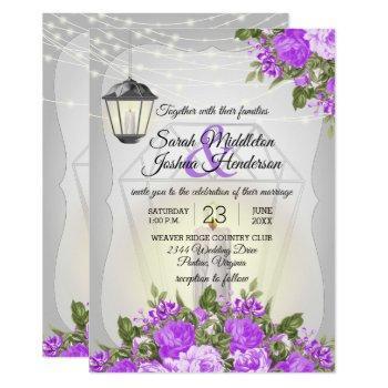 silver lanterns and purple flower wedding invitation