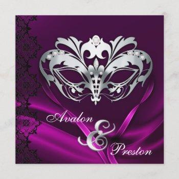 silver masquerade pink jeweled wedding invitation