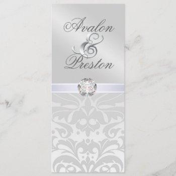 silver metal diamond damask wedding invitation