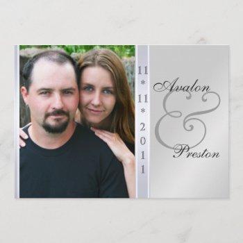 silver metal side damask photo wedding invitation