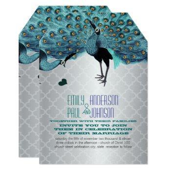 silver moroccan tile aqua & coral peacock wedding invitation