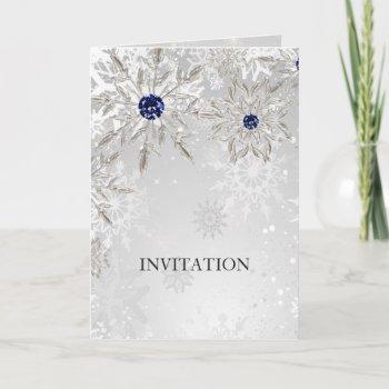 silver navy snowflakes winter wedding invitation