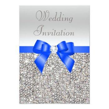 silver sequins royal blue bow and diamond wedding invitation