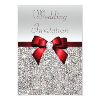 Small Silver Sequins Royal Red Bow And Diamond Wedding Invitation Front View