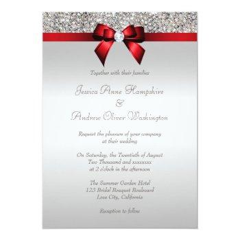 Small Silver Sequins Royal Red Bow And Diamond Wedding Invitation Back View