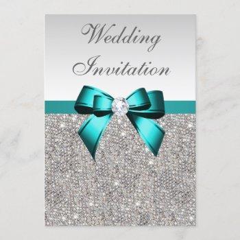 silver sequins vibrant teal diamond bow wedding invitation
