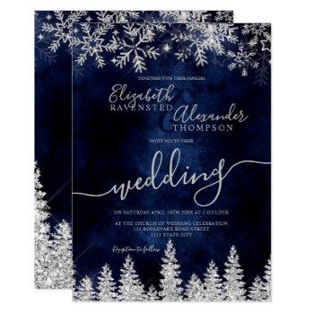silver snow pine navy christmas winter wedding invitation