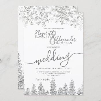 silver snow pine white christmas winter wedding invitation