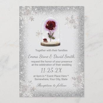 silver snowflakes winter wedding beauty rose dome invitation