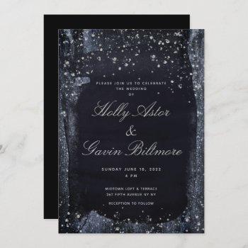 silver starry night wedding invitation suite