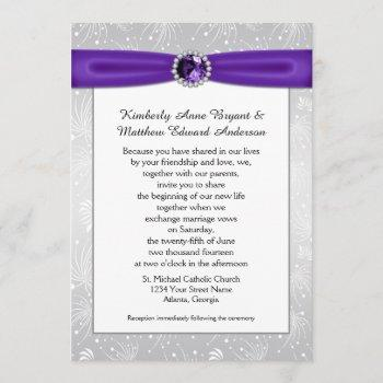 silver sunbursts purple gemstones ribbons diamond invitation