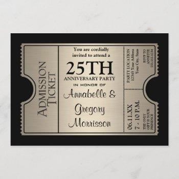 silver ticket style 25th wedding anniversary party invitation