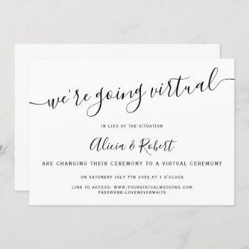 simple black and white chic script virtual wedding invitation