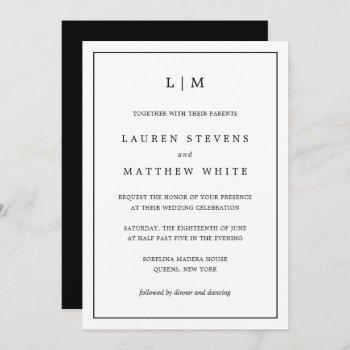 simple black and white monogram wedding invitation