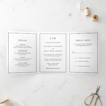 simple black and white monogram wedding tri-fold invitation