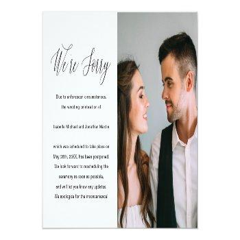 Small Simple Black And White Photo Wedding Postponement Announcement Postcard Front View