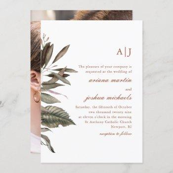 simple botanical with monogram photo wedding invit invitation