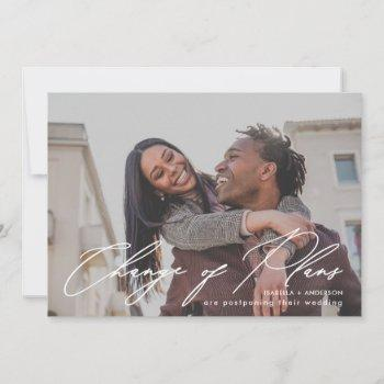 simple calligraphy photo wedding change of plans announcement