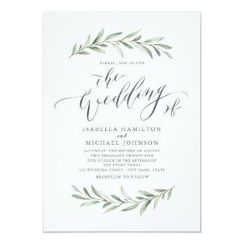 Small Simple Calligraphy Rustic Greenery Wedding Invitation Front View