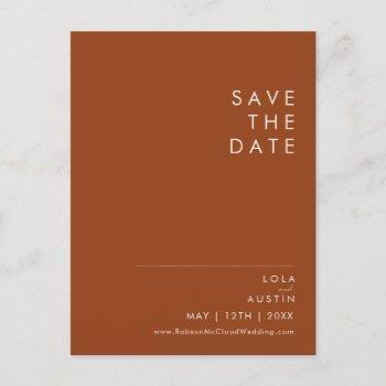simple desert   terracotta save the date postcard