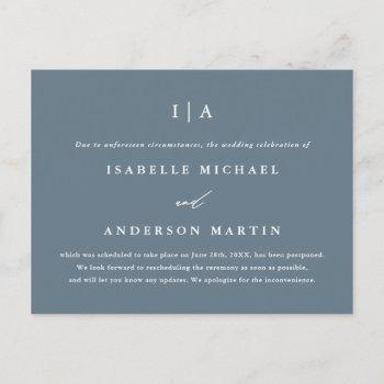 simple dusty blue monogram wedding postponement announcement postcard