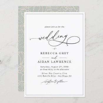 simple elegant calligraphy script wedding invitation