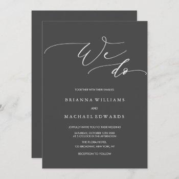 simple elegant calligraphy we do charcoal wedding invitation