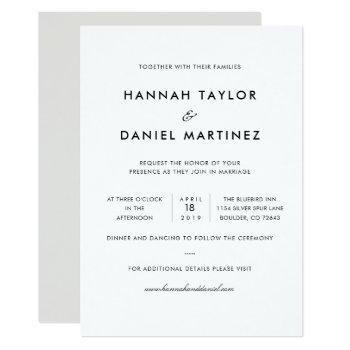 simple elegant modern custom wedding invitation