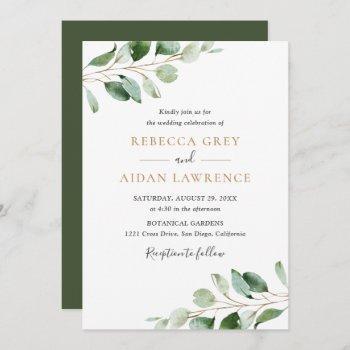 simple eucalyptus greenery gold wedding invitation