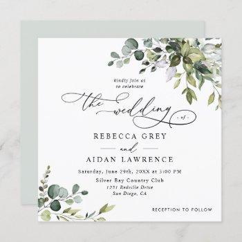 simple eucalyptus greenery wedding square invitation