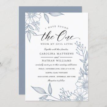 simple floral i have found the one | blue wedding invitation