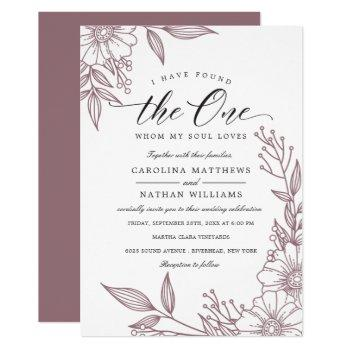 simple floral i have found the one | mauve wedding invitation