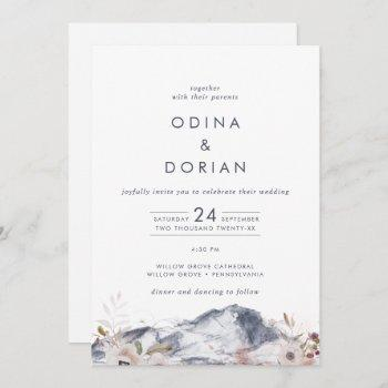 simple floral mountain all in one wedding invitation