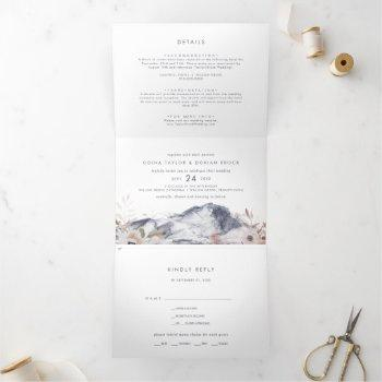 simple floral mountain photo wedding all in one tri-fold invitation