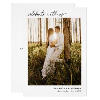 simple handwritten script photo wedding invitation