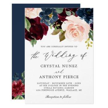 simple luxurious burgundy navy floral wedding invitation