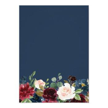 Small Simple Luxurious Burgundy Navy Floral Wedding Invitation Back View