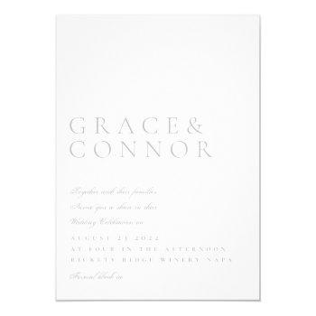 simple minimal light elegant modern style wedding invitation