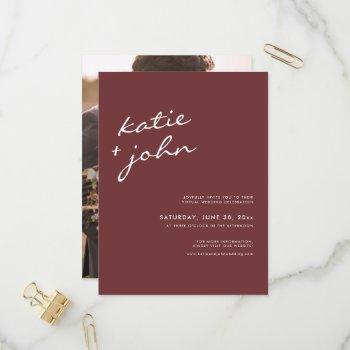 simple minimalist cinnamon rose virtual wedding invitation postcard