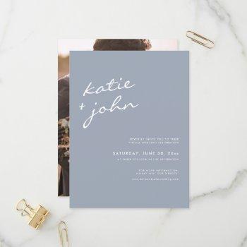 simple minimalist dusty blue virtual wedding  invitation postcard