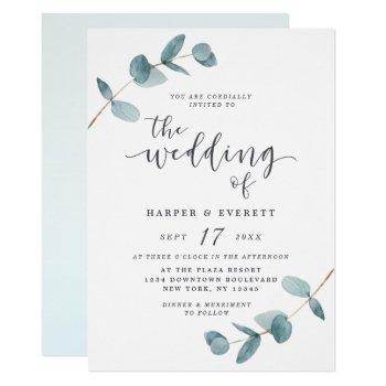 simple minimalist eucalyptus calligraphy wedding invitation