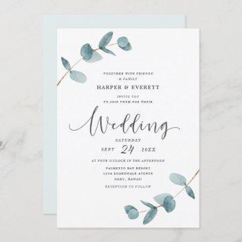 simple minimalist eucalyptus frame script wedding invitation