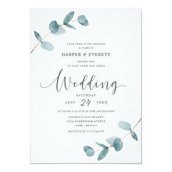 Small Simple Minimalist Eucalyptus Frame Script Wedding Invitation Front View