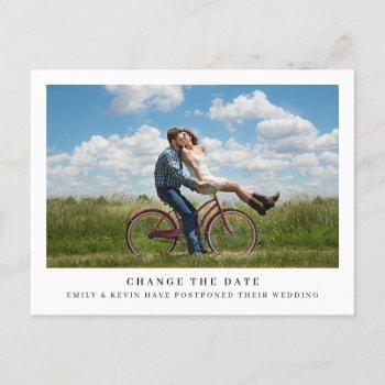 simple minimalist photo wedding change the date announcement postcard
