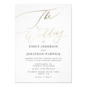 simple modern gold calligraphy wedding invitation