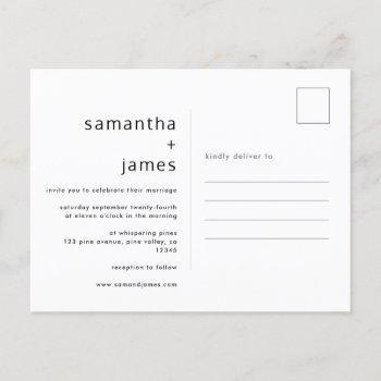 simple modern minimal photo wedding invitation postcard