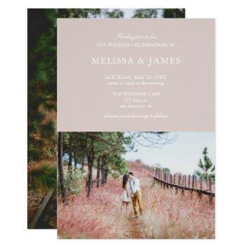 simple modern photo wedding champagne invitation