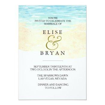 Small Simple Modern Watercolor Beach Wedding Invitation Front View