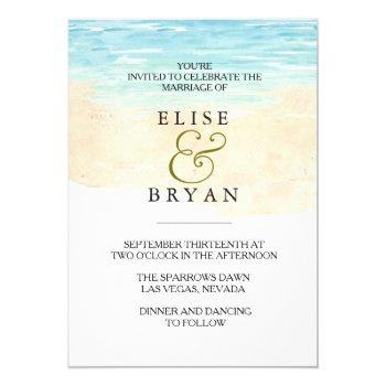 simple modern watercolor beach wedding invitation