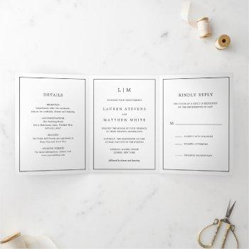 simple monogram black and white wedding tri-fold invitation